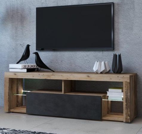 TV-Lowboard Mount in Old Used Wood Shabby hell und Matera grau mit LED Beleuchtung 140 cm